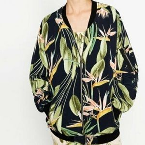 Zara Basic Oversized Floral Tropical bomber jacket